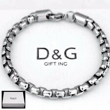 "DG Men's 8.5"" Silver Stainless Steel,Classic 7mm Round Box Chain.Bracelet**Box"