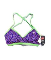 TYR Women's Vitality Crosscut Tieback Bikini Top Size 10/12 Large Purple Water