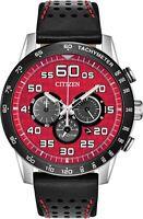 Citizen Eco-Drive Men's Chronograph Black Leather Strap 44mm Watch CA4430-01X
