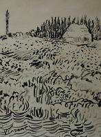 Original, Unique, ink drawing, signed, Vincent van Gogh, w COA & DOCS.