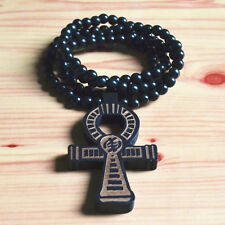 """GOOD QUALITY HIPHOP BLACK CROSS PENDANT CARVED WOOD BEADS CHAIN NECKLACE 35"""""""