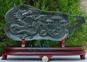 Natural Nephrite Jade Dragon Gate Carving/Chinese Palm-leaf Fan Shape Statue