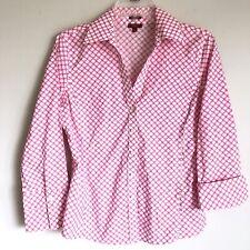 Talbots haberdashery Top Size 6 Pink White Button Down Wrinkle Resistant
