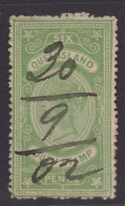 QUEENSLAND 1902 6d Green QV DUTY STAMP FINE USED (LD99)