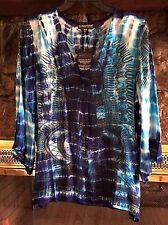 "NWT! GREATER GOOD Tie Dye Spirit Long Sleeve Top ""Water"" Blue White Purple S-M-L"