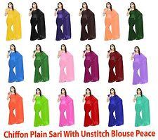 Chiffon Saree Plain Sari Party Wear Belly Dance Veil Blouse Chiffon Material C26