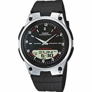 Men watch Casio AW-80-1AVES Brand New Black Face Polymer Resin Sport Telememo