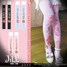 japan lolita princess diary strawberry picnic thigh high velour socks【JI3096】