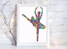 ballerina ballet dance Watercolor a4 glossy poster Print nursery picture