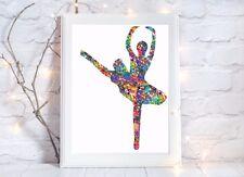 Ballerina balletto Danza Acquerello a4 LUCIDA POSTER STAMPA FOTO Vivaio