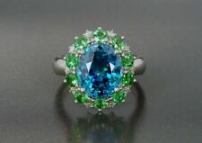 2.5CT Oval Cut Blue Topaz 14K White Gold Over Engagement Wedding Ring For Gift