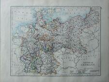 1899 Victorien Carte ~ Empire de Allemagne Wurtemberg Bavaria Prussie Saxe