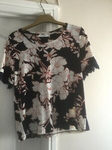 M & S Classic Navy Floral Top Size 12