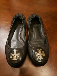 Tory Burch Black Reva Silver Logo Shoes Size 6M