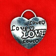 4 x Tibetan Silver LOVE Heart WEDDING Large Charm Pendant Finding Beading Making