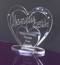 Personalised 25th Birthday Gift Heart with message -  Free Standing Keepsake