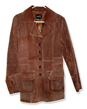 Rue 21 Long Brown Leather Lined Blazer Jacket with Ornate Leather Buttons-M-L