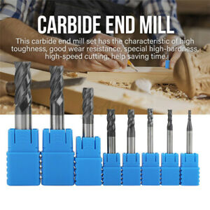 1-12mm Solid Carbide Straight End Mill 4 Flute Milling Cutter Drill Bit Tool