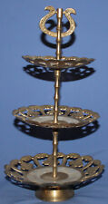 VINTAGE BRASS/MOTHER OF PEARL 3 TIERED SERVING TRAY