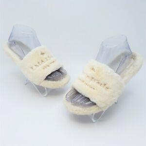 Kate Spade New York Thalia Womens White Faux Fur Slide Slippers Size US 7 EUR 38