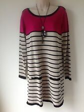 BHS W SIZE 14 PINK BLACK BEIGE STRIPE LONG JUMPER DRESS SMART CASUAL HOLIDAY FAB