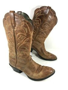 GUC Women's Ariat Heritage R-Toe Brown leather Western Boots Sz 9 B
