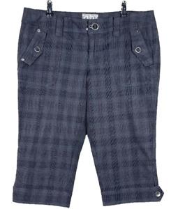 ESPRIT   Capri Pedal Pushers Pants Metal Button Detail Grey Tartan  Size 14