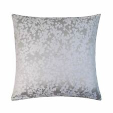 """FILLED WOVEN FLORAL SILVER GREY WHITE 17"""" - 43CM CUSHION"""