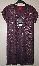 SEQUIN DRESS FROM NEXT - SIZE 8 - WINE - SEQUIN / BEAD EMBELLISHED - BNWT