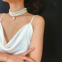 Perlenkette Halskette mit Perlen Anhänger, Weiße Halsreifen für Kostüm Kleid