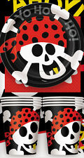 PIRATE PARTY SUPPLIES PACK FOR 8 BIRTHDAY WITH NAPKINS PLATES CUPS & TABLECOVER