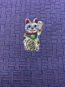 """Hermes Paris 428765T Purple Woven """"Lucky Cat"""" Collector Edition Tie New In Box"""