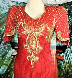 VINTAGE BEADED COCKTAIL DRESS RED/GOLD,  MEDIUM SCALA (MOTHER OF BRIDE)