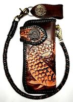 Biker Chain Wallet motorcycle trucker Koi Fish Tattoo tooled engraved Leather