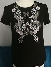 Oasis black embellished bird flower embroidered sequin top size 6