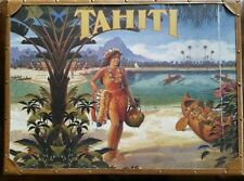Tahiti suitcase oceanic steamship company Vintage beach tiki bar Travel decor