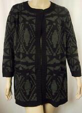 BeMe Black Grey 7/8 Sleeve Long Line Cardi Jacket Plus Size S 16/18 BNWOT # K95