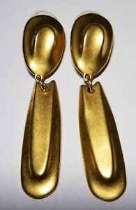 ROBERT LEE MORRIS Long Drop Dangle Goldtone Clip On Earrings