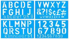 Lettres a-z capital 50mm minuscules 20mm 0-9 numéros pochoir modèle signwriting