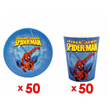 50pcs Paper Plate And 50pcs Cup Spider Man Theme Birthday Party Tableware Set
