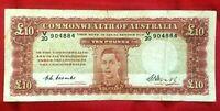 1949 10 POUND AUSTRALIA NOTE COOMBS / WATT BANKNOTE R60 GEORGE VI VF+ GENUINE