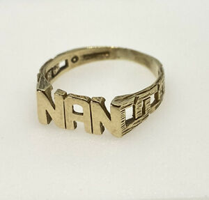 Gold Nan Ring 9ct Yellow Gold Nan Ring Grandma Present Birthday Gift Hallmark