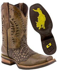 Mens Western Cowboy Boots Sand Alligator Belly Pattern Leather Square Toe Botas