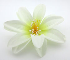 """Large 5.5"""" White Water Lily Poly Silk Flower Hair Clip,Pin Up,Updo,Hat"""