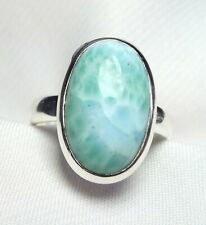 Larimar Ring 925 Silber Gr. 17,5 (55) mit ovalem Edelstein Cabochon UNIKAT - NEU