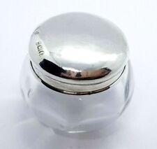 ANTIQUE SILVER & GLASS SMALL DRESSING TABLE ROUGE POT - WJ MYATT 1923