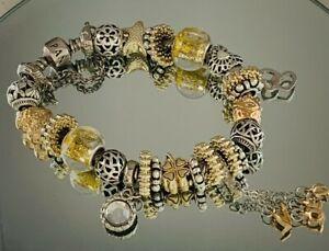 Genuine Pandora Silver Charm Bracelet - 20cm Charms, Clip & Chain   #W/8