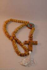 rosary beads prayer rope 50 knots metal jesus christ wood cross st nikolai icon