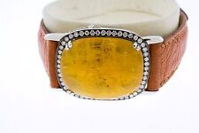 14K White Gold Golden Beryl White Diamonds Black Rhodium Brown Leather Bracelet