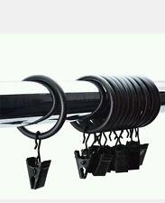 Rideau en métal solide 10 x 30mm bagues avec Clips suspendus vendeur noir, Britannique